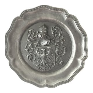Vintage Spanish Pewter Coat of Arms Plate For Sale
