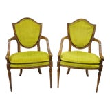 Image of French Louis XVI Directoire Style Shield Back Arm Chairs Fauteuil - a Pair For Sale