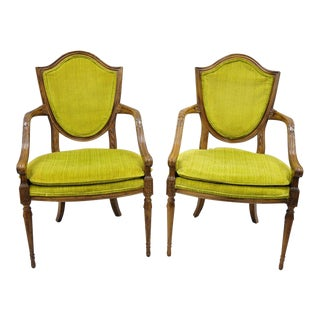 French Louis XVI Directoire Style Shield Back Arm Chairs Fauteuil - a Pair