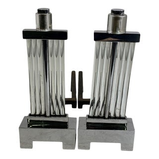1930s Art Deco Chrome and Glass Rod Andirons For Sale