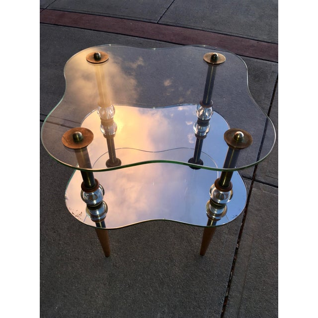 """Rare two-tiered cloud side table Art Deco Gilbert Rohde style. Featuring brass hardware, 3/8"""" thick electro-copper plated..."""