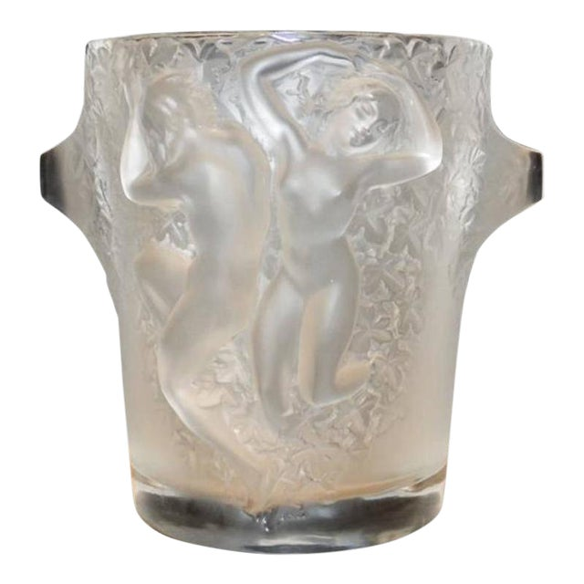 Lalique Molded and Frosted Glass Ice or Champaign Bucket For Sale