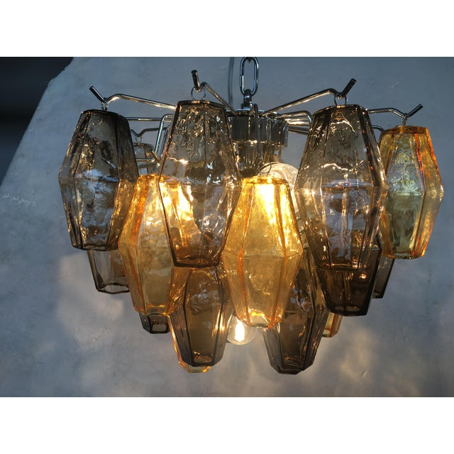 """Italian """"Poliedro"""" Amber and Fume Chrome Metal Frame Murano Glass Chandelier For Sale - Image 6 of 11"""