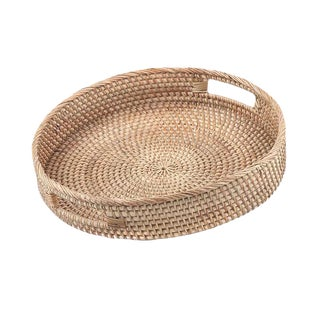 Hand Woven Round Rattan Tray For Sale