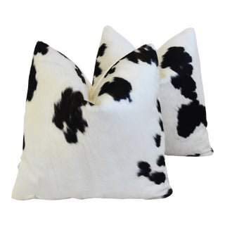 "Brazilian Cowhide and Cotton Feather/Down Pillows 21"" Square - - a Pair For Sale"