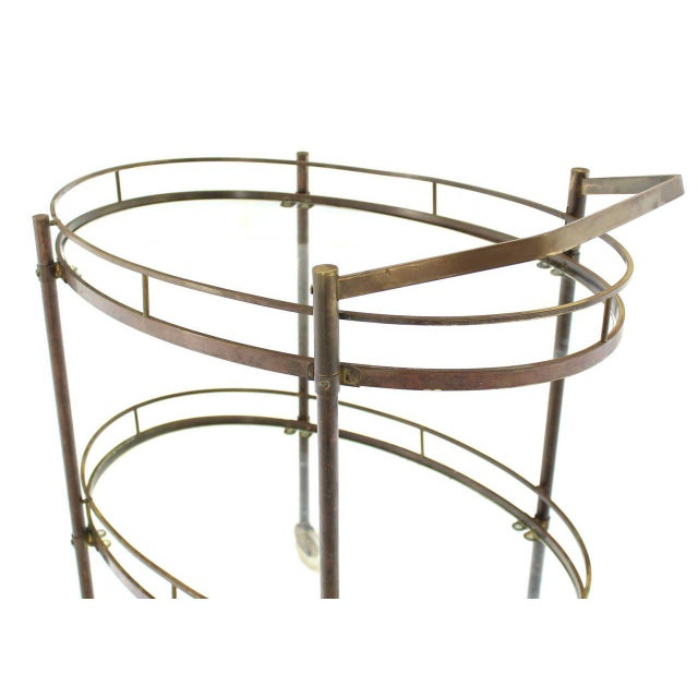Oval Two-Tier Brass Tea Cart or Serving Table For Sale - Image 4 of 6