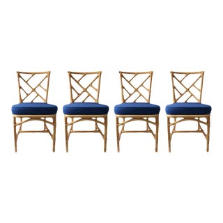 Vintage Chippendale Style Bamboo Side or Dining Chairs - a Set of 4 For Sale