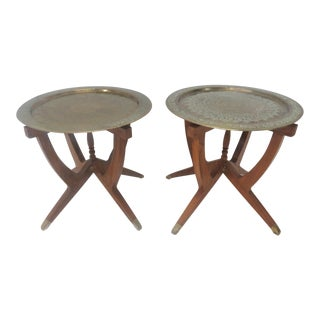 Brass & Teak Mid-Century Side Tables - A Pair