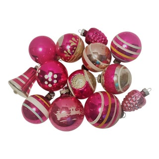 "Vintage Pink ""Shiny Brite"" Ornaments - Set of 13 For Sale"