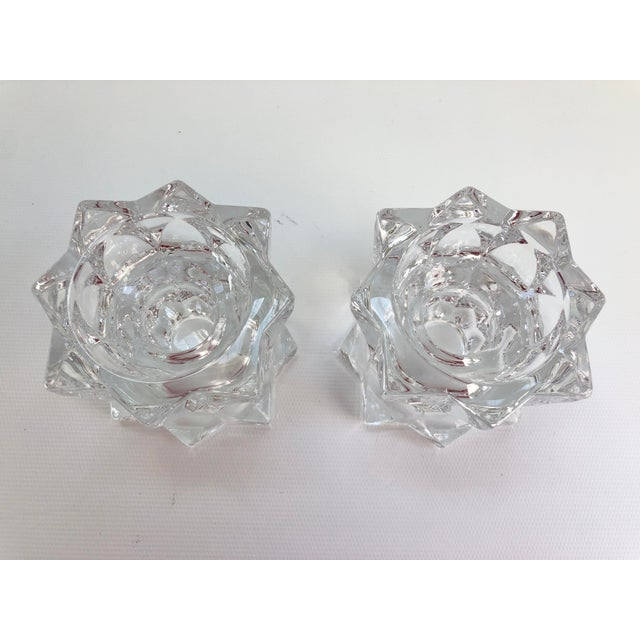 Mid-Century Modern Vintage Faceted Crystal Candle Holders - a Pair For Sale - Image 3 of 6