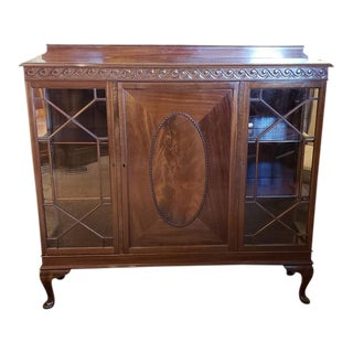 English Traditional Mahogany Display Cabinet C.1920 For Sale