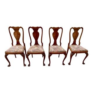 20th Century Queen Anne Henke Harris Style Dining Chairs- Set of 4 For Sale