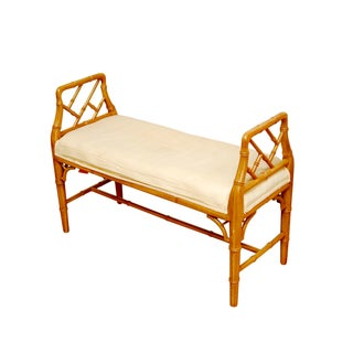 Hollywood Regency Faux Bamboo Chippendale Bench For Sale