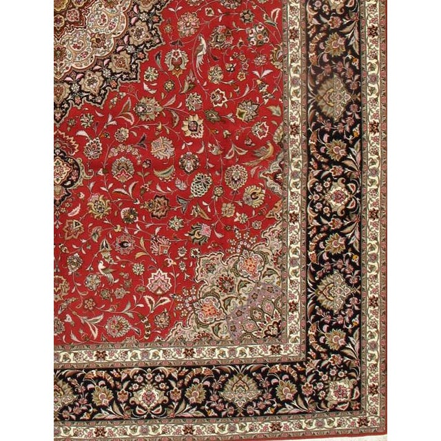 Original Persian Tabriz handmade and hand-knotted in Tabriz Iran 60-Raj Silk highlighted with korker wool pile on a cotton...