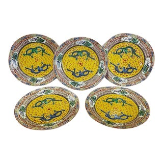 Chinese Famille Jaune Dragon Dinner Plates, Early Republic Period - Setof 5 For Sale