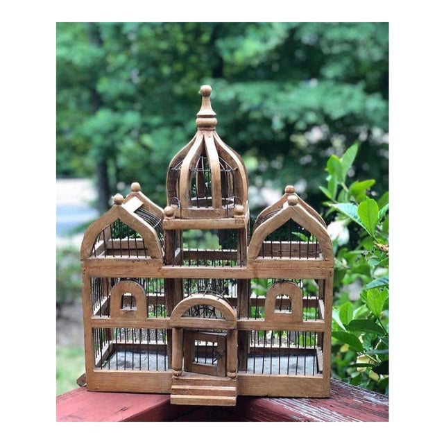 Antique Wooden Bird Cage For Sale