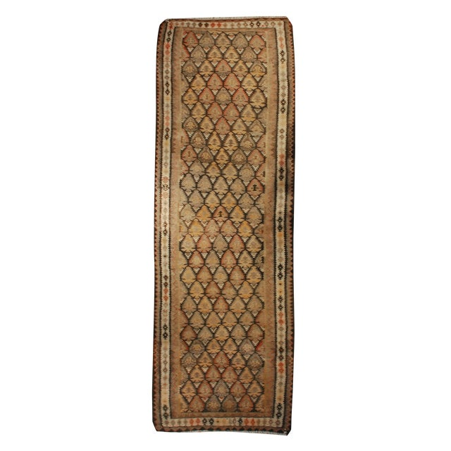 Early 20th Century Qazvin Kilim Runner - 3′10″ × 11′4″ For Sale