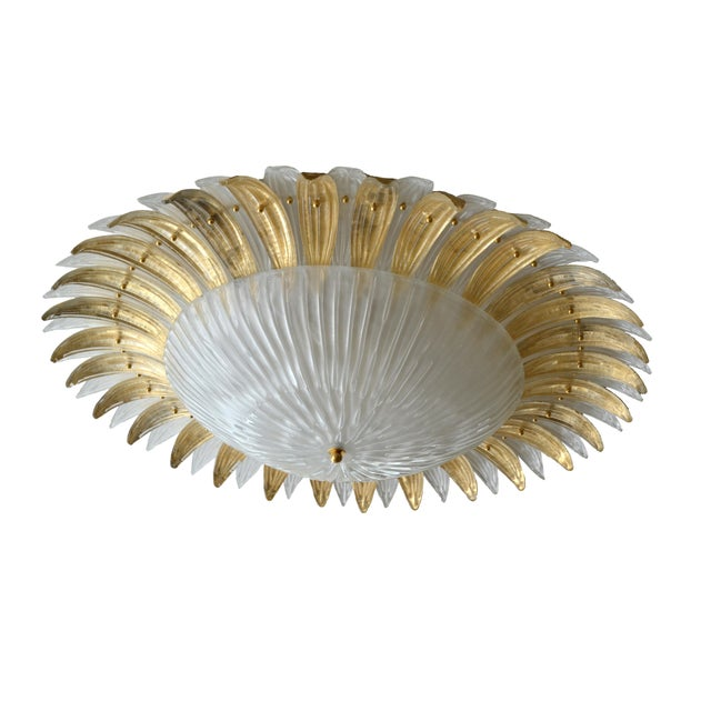 Modern Italian Murano Glass Palm Leaves Chandelier - Image 4 of 4