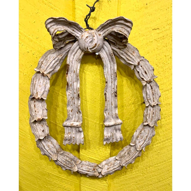 Really amazing early 20th century cast iron holly wrath tied with flowing bow in wonderful old white paint , with a great...
