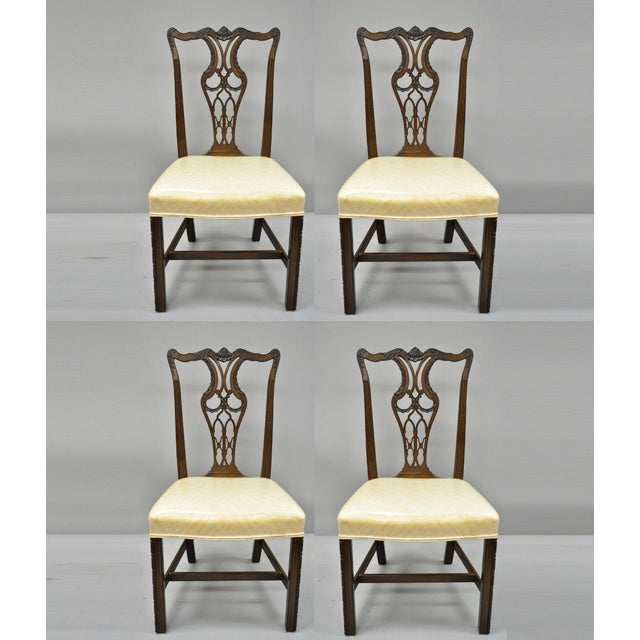 Antique Mahogany Pagoda Carved Chinese Chippendale Style Dining Chairs - Set of 4 For Sale - Image 12 of 12