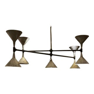 Modern Industrial Chandelier Made From Antique Pipe and Funnels For Sale