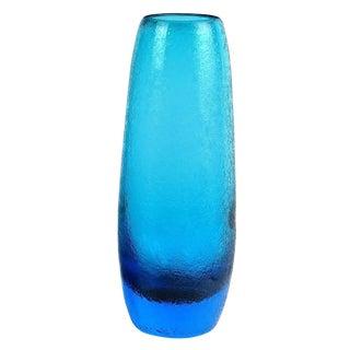 Murano Sommerso Cobalt Blue Corroso Surface Italian Art Glass Flower Vases For Sale