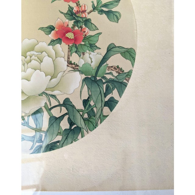 Late 20th Century Late 20th Century Bird and Botanical Chinese Round Format Silk Painting on Embossed Textile Paper For Sale - Image 5 of 7