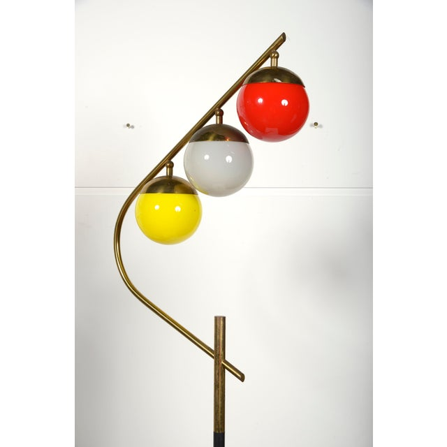 1960s Italian floor lamp. Three glass shades. Marble base.