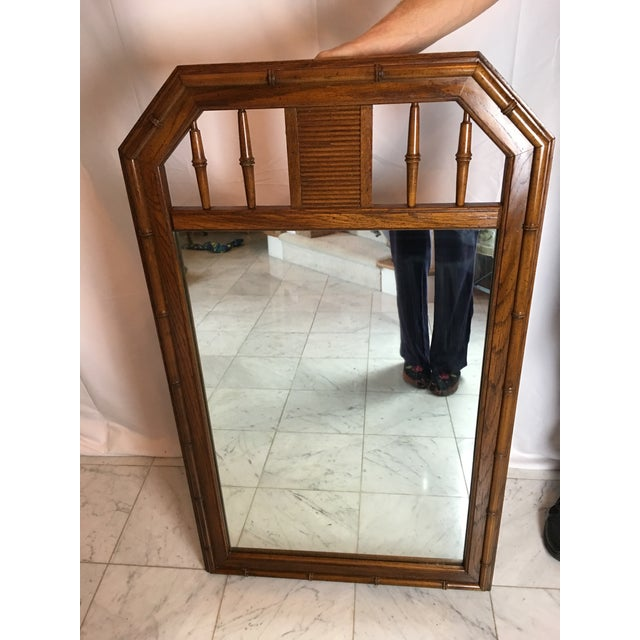 1960s 1960s Boho Chic Faux Bamboo Wood Mirror For Sale - Image 5 of 8