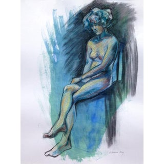Kathleen Ney Original Blue Seated Female Figure Drawing For Sale