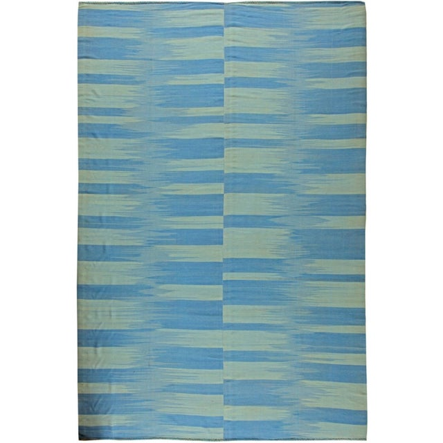 Contemporary Blue and Green Striped Area Rug For Sale - Image 3 of 3
