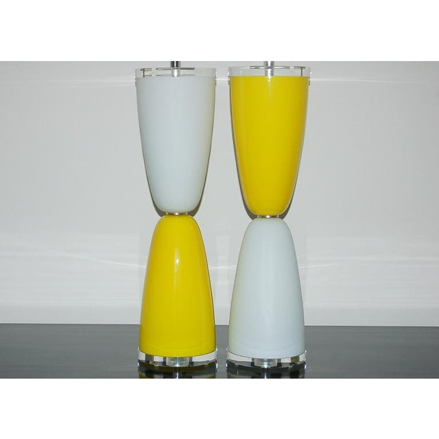 Murano Vintage Murano Glass Table Lamps Yellow White For Sale - Image 4 of 7