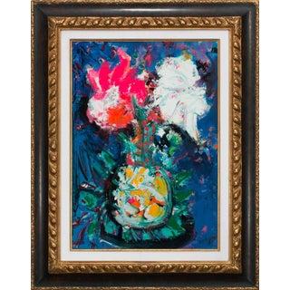 "Circa 1965 ""Vase Fleuri"" Floral Still Life Oil Painting by Bernard Lorjou, Framed For Sale"