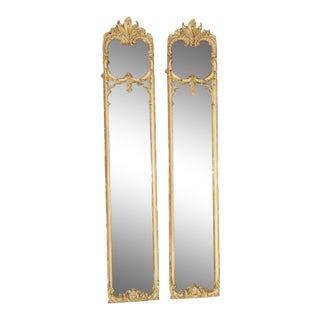 Pair of Full Length French 19th Century Louis XV Style Pier Mirrors For Sale