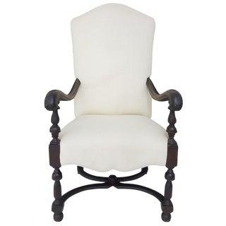 Continental Walnut Frame Off-White Linen Throne Chair