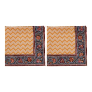 Dragonfly Chevron Napkins, Mustard Yellow - A Pair For Sale