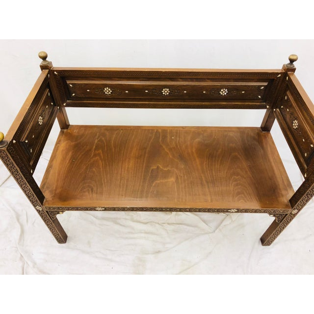 Bone Antique Pearl & Brass Detail Wooden Bench For Sale - Image 7 of 12
