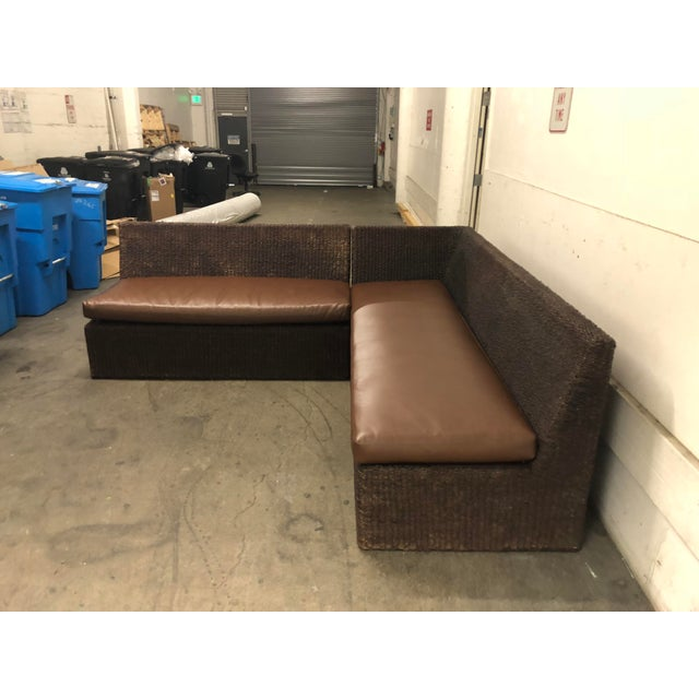 Wicker Two Piece Sectional From Walter's Wicker Works For Sale - Image 7 of 10