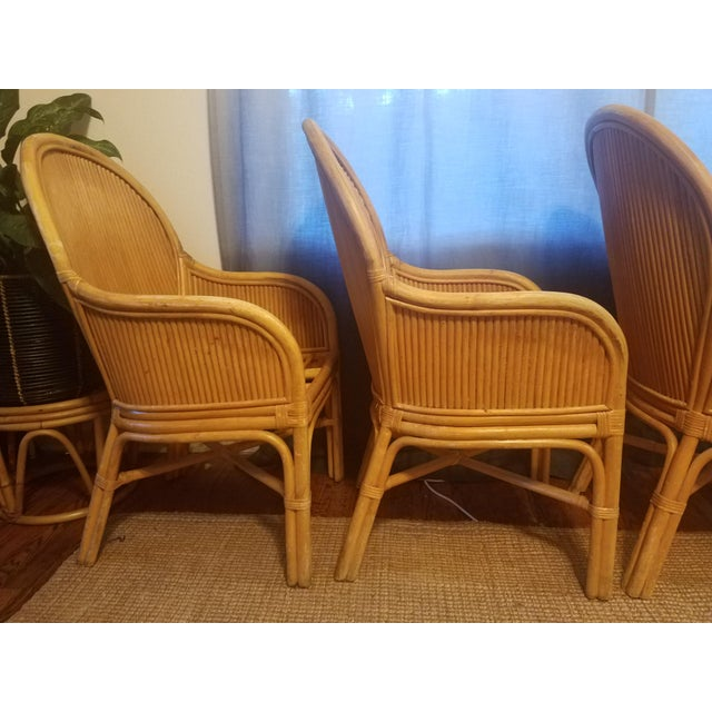 Bamboo Palm Beach Pencil Reed Rattan Dining Chairs - Set of 4 For Sale - Image 7 of 10