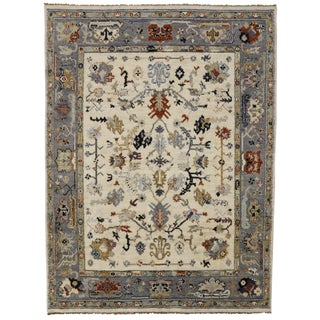 Transitional Blue and Cream Oushak Rug, 9'3x12'5 For Sale