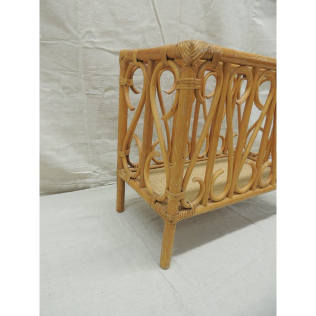 Vintage Bamboo Rectangular Shape Magazine Rack Woven rattan base with undulated bamboo embellishments all over the four...