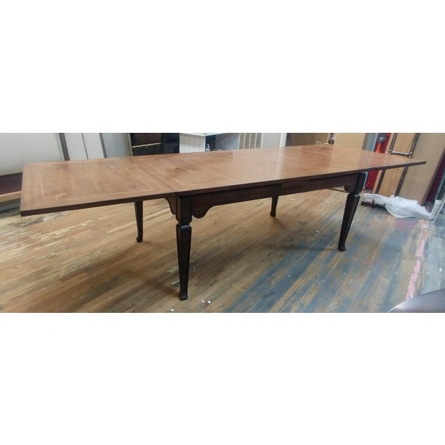 French Henredon Furniture Acquisitions European Refectory Walnut Dining Table For Sale - Image 3 of 11