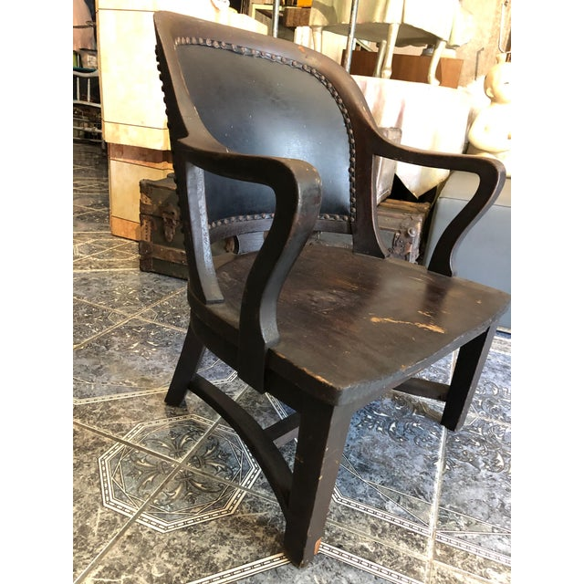 Brown 1940s Vintage Stout and Wide Wood and Leather Studded Bowed Back Reading Chair For Sale - Image 8 of 12