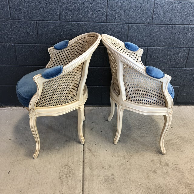 1960s Louis XV Style Barrel Back Caned Bergere Chairs - a Pair For Sale In Baltimore - Image 6 of 12
