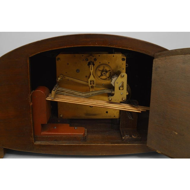 Art Deco German Art Deco Walnut Mantel Clock For Sale - Image 3 of 5