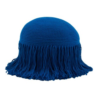 Joni French Blue Circular Fringed Pillow For Sale