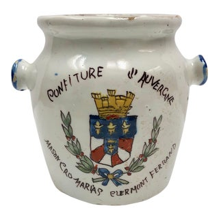 Vintage French Hand Painted Confit Jar For Sale