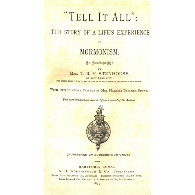 "Booth & Williams 1875 ""Tell It All: The Story of a Life's Experience"" Collectible Book For Sale - Image 4 of 5"
