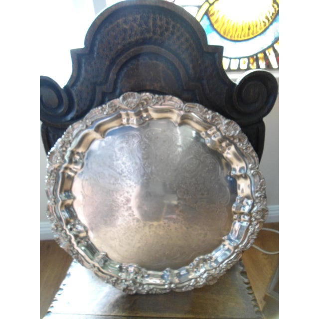Traditional Vintage 1970s Silver Plate Serving Tray For Sale - Image 3 of 6