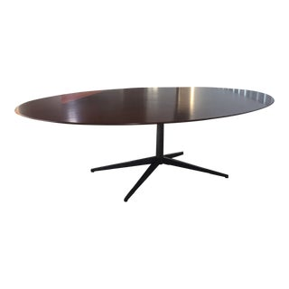 Vintage Knoll Inc Walnut With Bronze Starburst Base Oval Conference Table For Sale